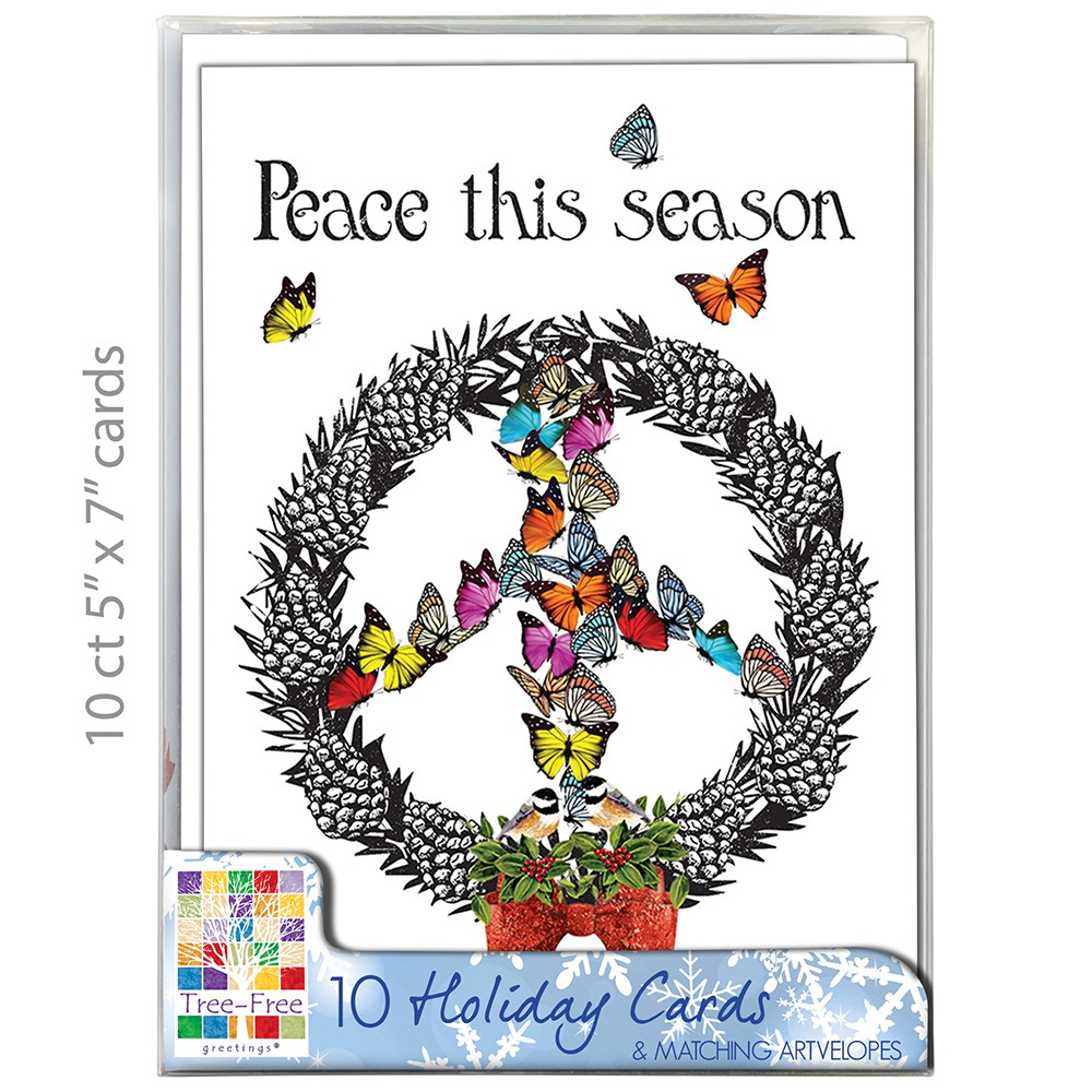 """Tree-Free Greetings Christmas Cards and Envelopes, Set of 10, 5 x 7"""", Peace Wreath Holiday Box Set"""