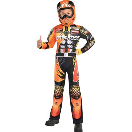 Suit Yourself Motocross Driver Costume for Boys, Includes a Black and Orange Jumpsuit and a Racing Helmet](Do It Yourself Mummy Costume)