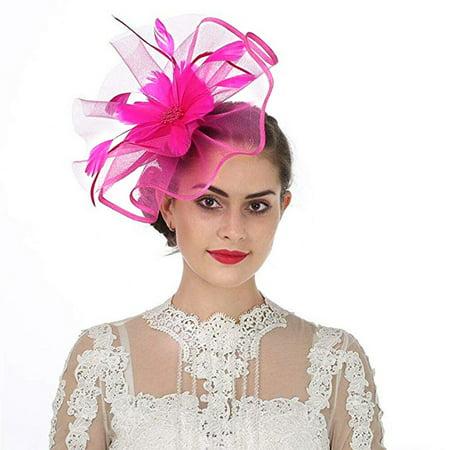 Navy Derby Hat (Women Fascinator Hat Feather Mesh Net Veil Hat Flower Derby Hat Headwear with Clip and)