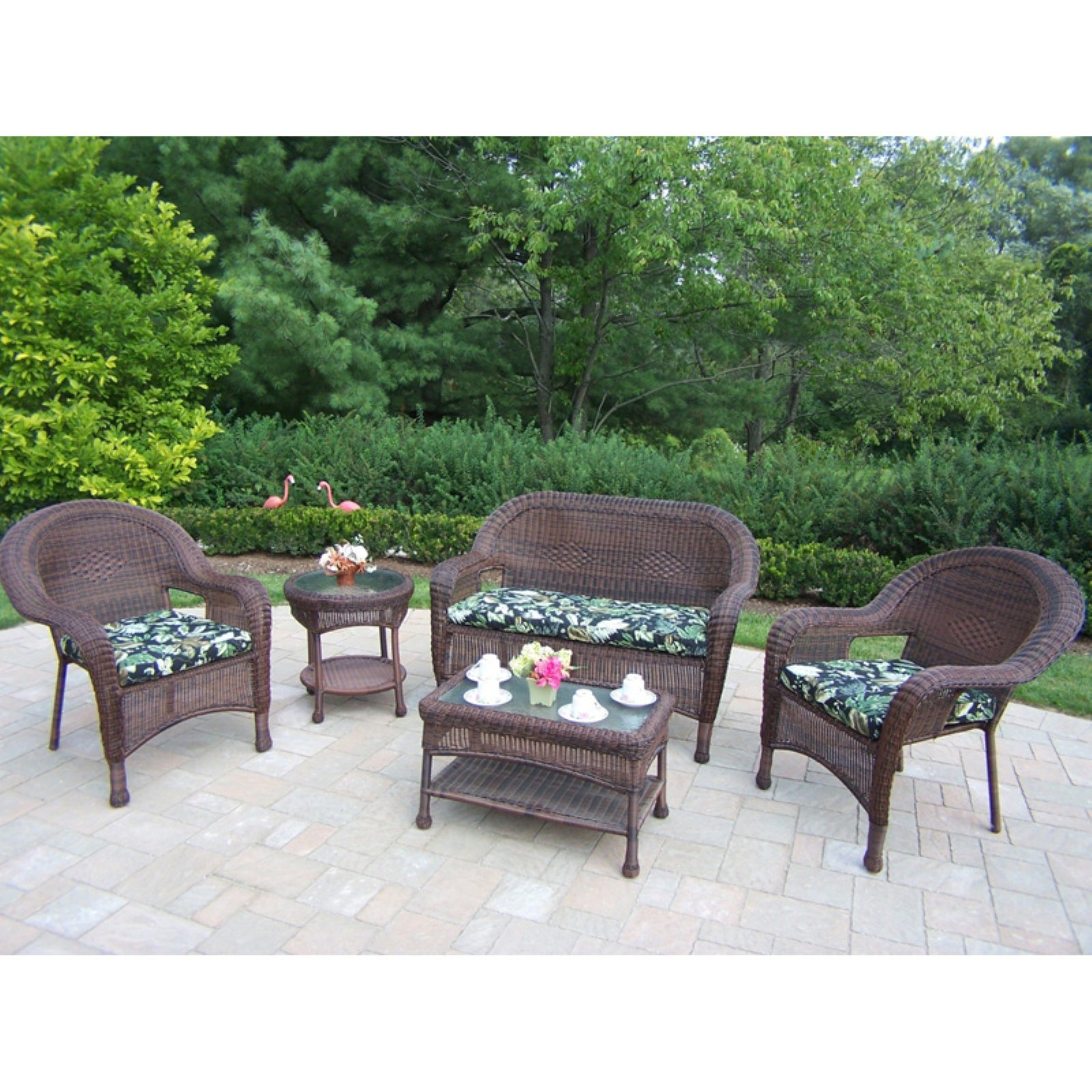 Oakland All-Weather Wicker Deluxe Conversation Set - Seats 4