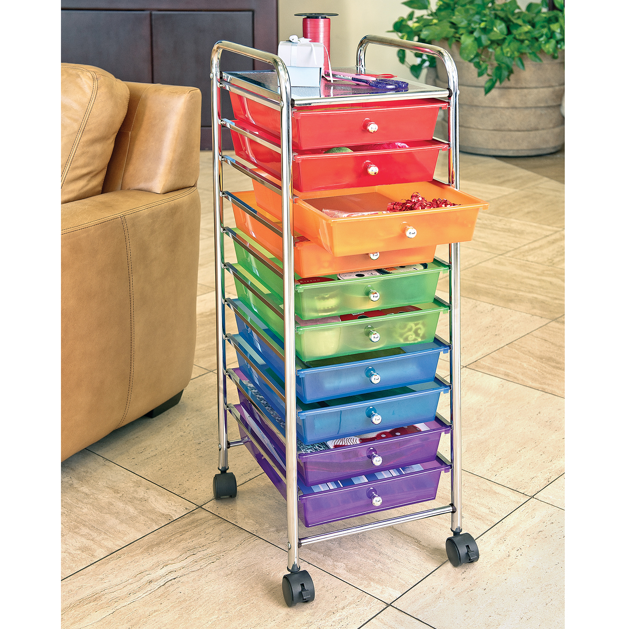Attractive 10 Drawer Organizer Cart W/ Wheels, Pearl Multi Color By Seville Classics    Walmart.com