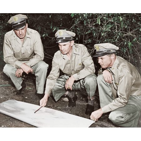 US Army members reviewing a map in the South Pacific area circa 1942 Poster Print by Stocktrek Images (Circa Map)