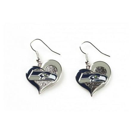 NFL Swirl Heart Earrings Dangle Charm Team Logo PICK YOUR TEAM w/Gift (Nfl Earrings Buffalo Bills)