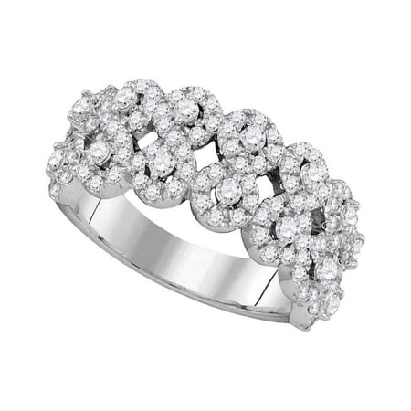 14kt White Gold Womens Round Diamond Double Row Circle Cluster Ring Band (1-.33 cttw.) Diamond Double Circle Ring