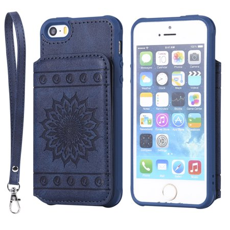 iPhone 5/ 5S/ SE Case, Allytech Embossed Sunflower Series, [Removable Wrist Strap] Premium PU Flip Wallet Case with Card Holder Cover for iPhone 5S/ iPhone 5/ iPhone SE, Blue