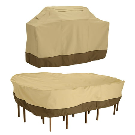 Classic Accessories Veranda™ Large Grill Cover and Large Rectangular/Oval Patio Table & Chair Set Cover Bundle - Durable and Water Resistant Outdoor Cover (55-924-041503-00)
