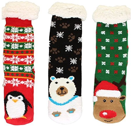 Winter Weight Thermal Fleece Lined Cozy Christmas Holiday Sherpa Lined Slipper Socks  3 Pair Pack  Christmas 2
