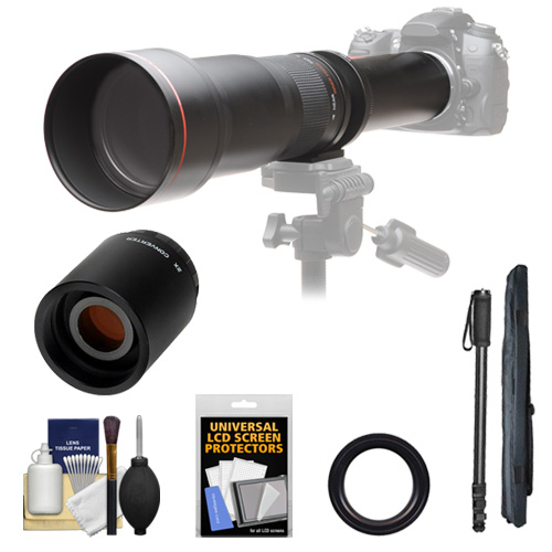 Vivitar 650-1300mm f/8-16 Telephoto Lens with 2x Teleconverter (=2600mm) + Monopod Kit for Nikon D3200, D3300, D5200, D5300, D7100, D610, D750, D810 Camera