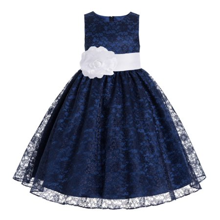 Green Dresses For Little Girls (Navy Blue Floral Lace Overlay Formal Flower Girl Dress Pageant)
