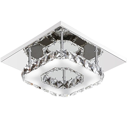 Goeco Mini Modern Crystal Chandelier Square Ceiling Lamp Stainless Steel LED Light for Bedroom, Bathroom, Dining... by