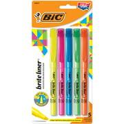 BIC Brite Liner Highlighter, Chisel Tip, Assorted Colors, Versatile Chisel Tip, 5 Count Highlighter Pack