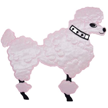 Large - Pink Poodle - Facing Right - Iron on Applique/Embroidered Patch - Poodle Skirt Applique