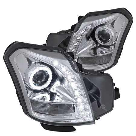 Spec-D Tuning 2003-2007 Cadillac Cts Smd Led Halo Projector Headlights 2003 2004 2005 2006 2007 (Left + Right) (05 Cadillac Cts Headlight)