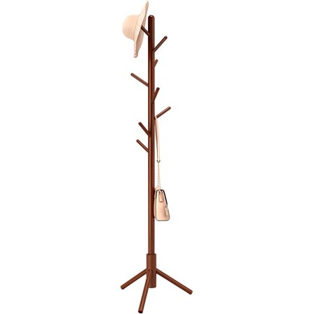 LANGRIA Solid Wood Coat Rack, Rubberwooden Hat and Coat Stand with 8 Hooks - Entryway Hall Stand & Free Standing Clothes Tree for Coat Hat Suit and