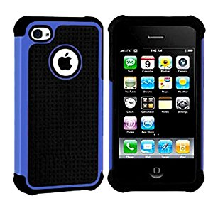 Importer520 Hybrid Armor Silicone + Hard Case Cover for Apple iPhone 4, 4S (AT&T, Verizon, Sprint) Blue + Black