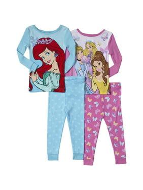 3a7caaec79 Product Image Disney Princess Little Girls 4-Piece Cotton Pajama Set