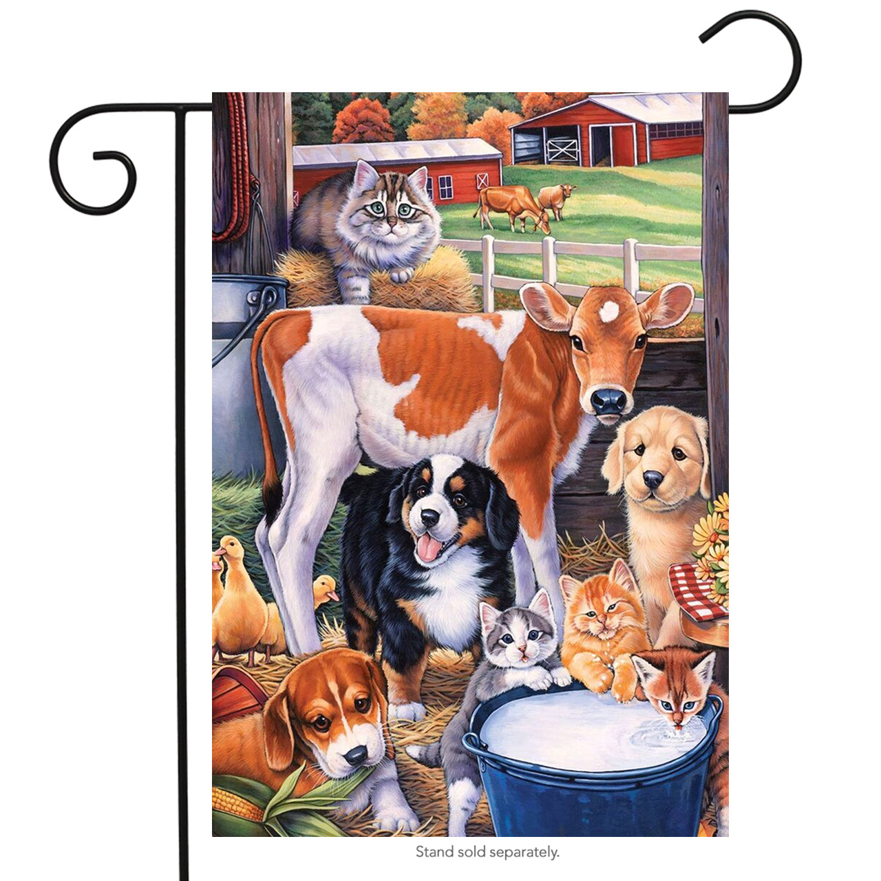 """Animals in the Barn Spring Garden Flag Country Dogs Cats Cow 12.5"""" x 18"""""""