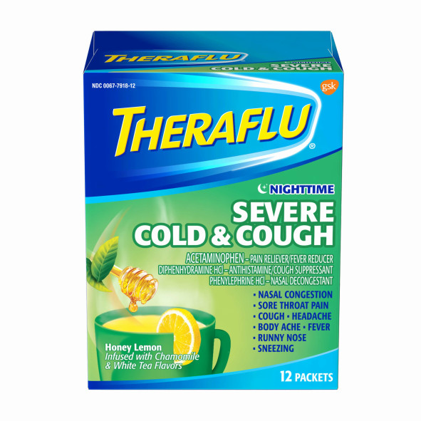 Theraflu Nighttime Severe Cold & Cough Honey Lemon Infused with Chamomile &...