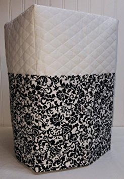 Black & White Floral Damask Bread Machine Cover (White) by Penny's Needful Things