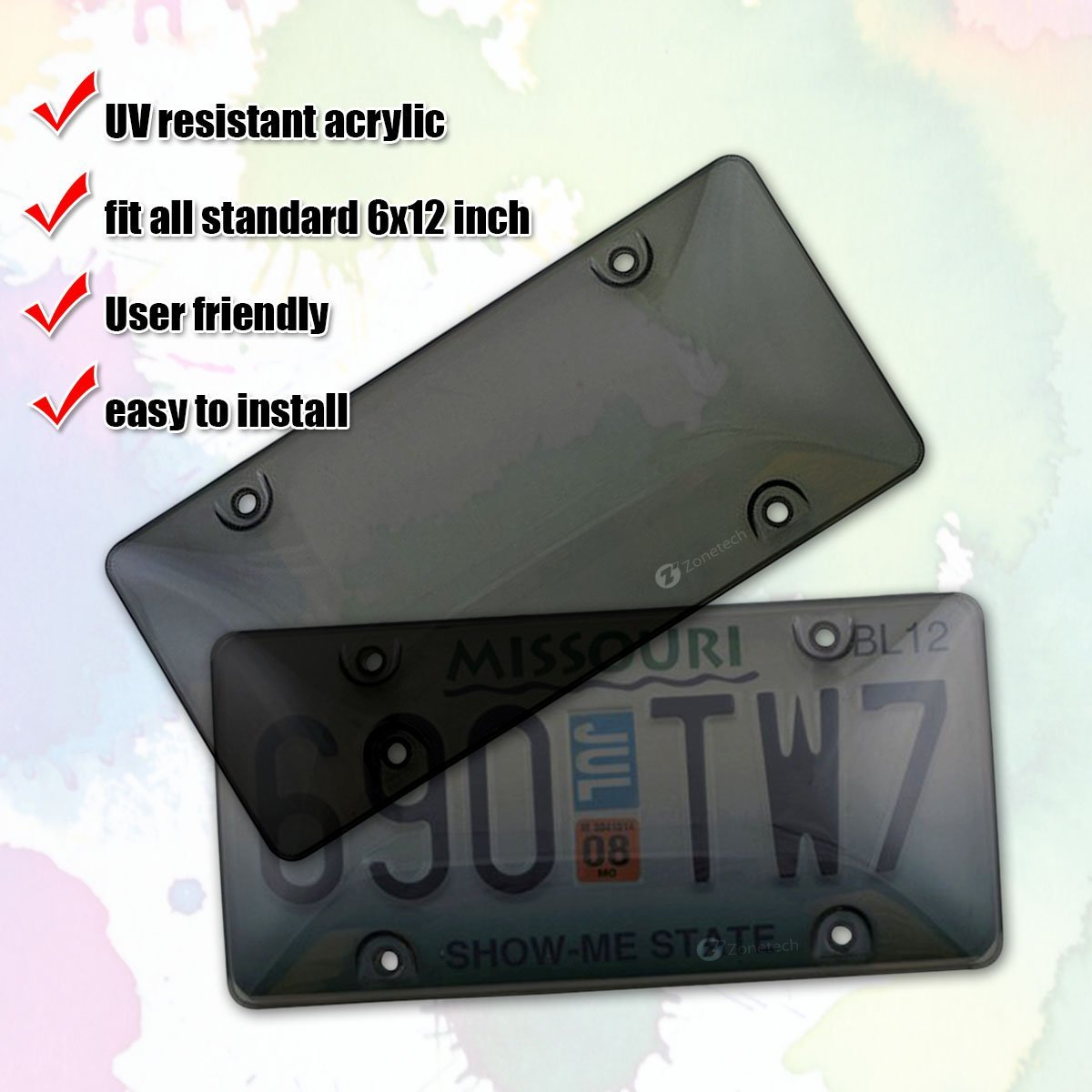 Zone Tech Clear Smoked License Plate Cover Frame Shield Combo 2-Pack Premium Quality Novelty//License Plate Clear Smoked and Black Bubble Shield and Frame