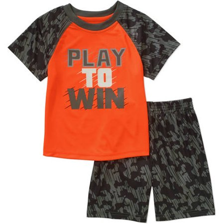580c4d25611f Healthtex - Toddler Boy Athletic Graphic Tee and Jersey Shorts Outfit Set -  Walmart.com