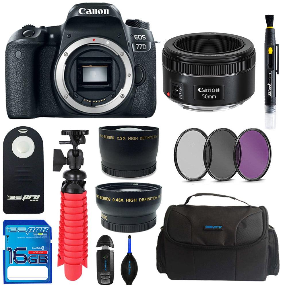 Canon EOS 77D DSLR Camera + Canon 50mm STM Lens + Pixi Basic Bundle Kit
