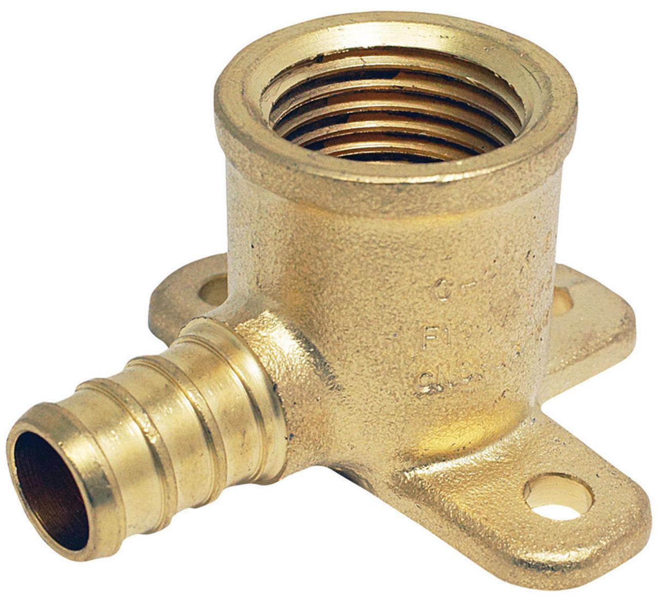 Conbraco APXDEE12 Drop Ear Pipe Elbow, 1/2 in, FPT, Brass/Pex