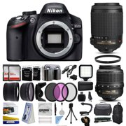 Nikon D3200 DSLR Digital Camera with 18-55mm VR + 55-200mm VR Lens + 128GB Memory + 2 Batteries + Charger + LED Video Light + Backpack + Case + Filters + Auxiliary Lenses + More!