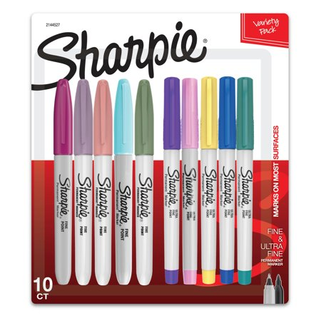 Sharpie Permanent Markers, Fine and Ultra-Fine Point, Assorted, 10 Count