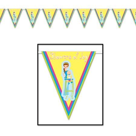 """Club Pack of 12 Gender Neutral """"Showers of Joy"""" Baby Shower Pennant Banner Decoration 12'"""