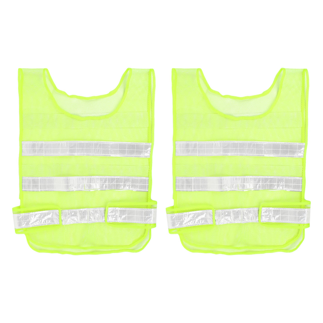 Visibility Reflective Meshy Traffic Security Waistcoat Vest 2 Pcs