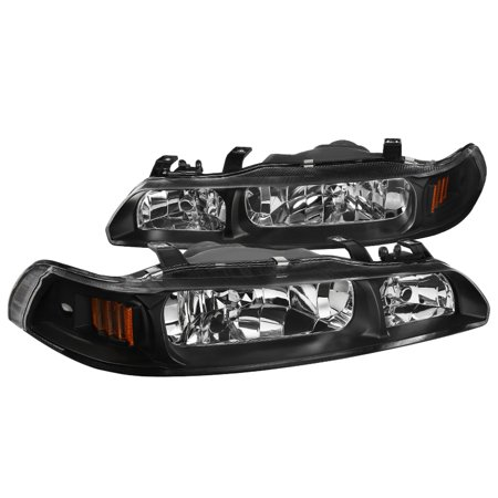 Spec-D Tuning For 1990-1993 Acura Integra Jdm Black 1 Piece Replacement Headlights Lamps (Left+Right) 1990 1991 1992