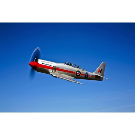 A Hawker Sea Fury T Mk20 Dreadnought Aircraft In Flight Over Ione California Poster Print