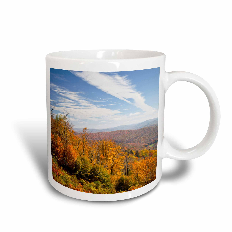 3dRose West Virginia, Cheat Bridge. Monongahela NF Autumn - US49 WBI0053 - Walter Bibikow, Ceramic Mug, 15-ounce