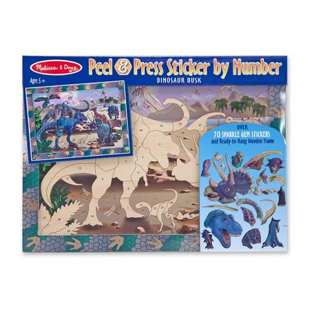Melissa & Doug Peel and Press Sticker by Number Activity Kit: Dinosaur Dusk - 70+ Stickers, -