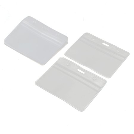 Office Business Plastic Horizontal ID Badge Name Tag Card Holder Clear 10pcs - Plastic Name Badge Holders