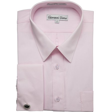 Gentlemens Collection Men's 1916FC French Cuff Solid Dress Shirt - Pink - 17 (Classic French Cuff Dress Shirt)