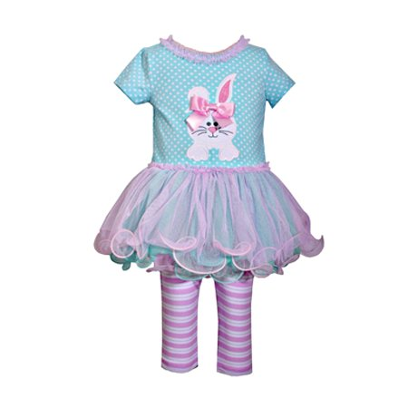 Newborn Baby Girls Aqua Bunny Tutu Top And Striped Legging Set 3-6 - Tutu Stores