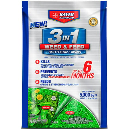 Bayer Advanced 3-in-1 Weed and Feed for Southern Lawns, 12.5-lb (Best Way To Weed And Feed Lawn)