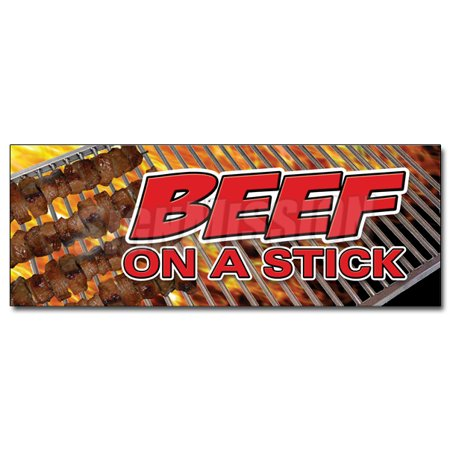 BEEF ON A STICK DECAL sticker food vendor steak grill bbq meat (Best Meat For Grilling Steak)