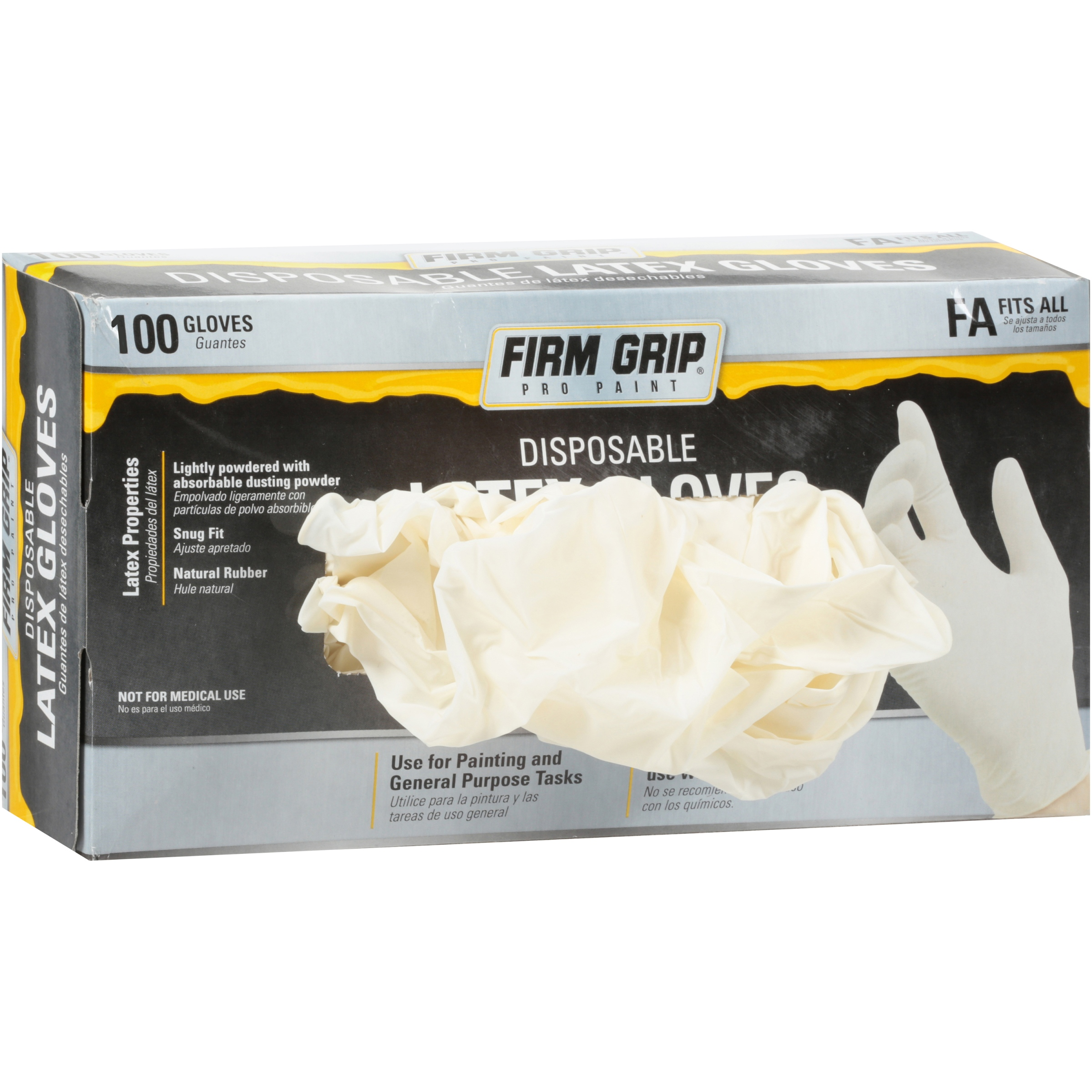 Firm Grip Pro Paint Fits All Disposable Latex Gloves 100 ct Box by Big Time Products, LLC