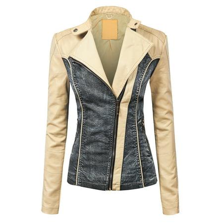 MBJ WJC1014 Womens Faux Leather Biker Denim Jacket XS CREAM_BLACK