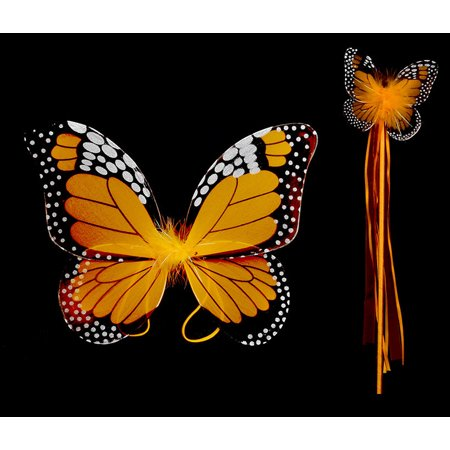 Costume Accessory Orange Monarch Children Butterfly Wings and Wand 2pc Set (Set of 4)](Wands And Wings)