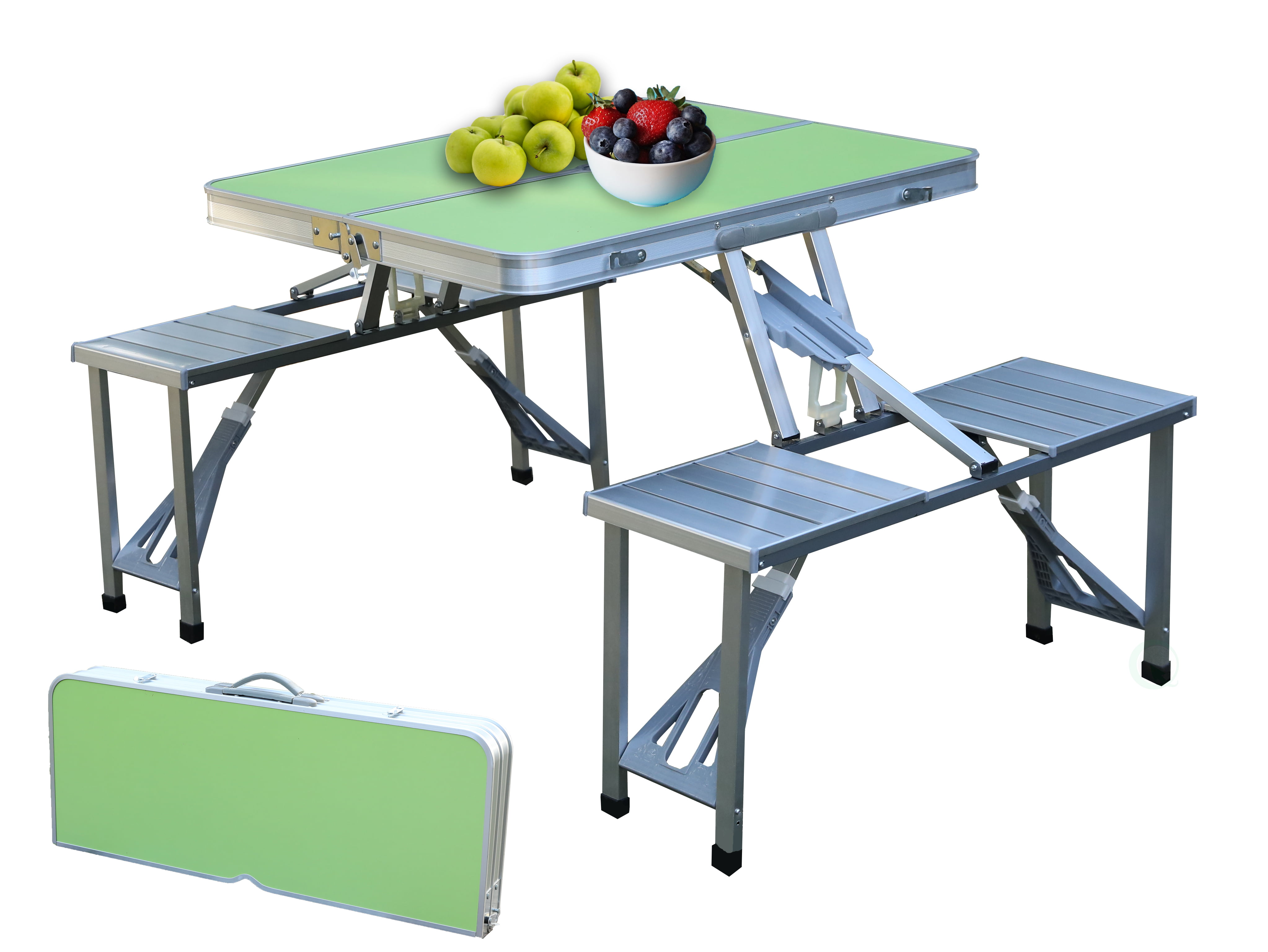 Aluminum Portable Picnic Folding Table with Two Benches, Green by Quickway Imports