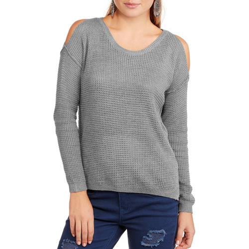 Poof! Juniors' Cold Shoulder Sweater Top
