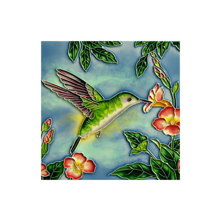 Continental Art Center Hummingbird with Green and Orange Flowers Tile Wall Decor