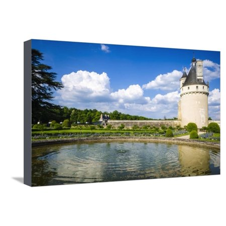 The Marques Tower and fountain, Chenonceaux, Loire Valley, France Stretched Canvas Print Wall Art By Russ Bishop - Fountain Valley Halloween
