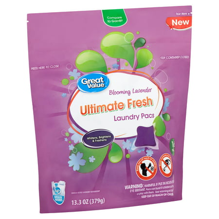 Great Value Ultimate Fresh Blooming Lavender Laundry Pacs, 16 count, 13.3 oz