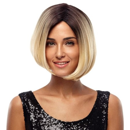 Short Blonde Bob (Noble Perruque None Lace Cosplay Short Bob Wigs 10 Inch Ombre Blonde Wigs Heat Resistant Free)