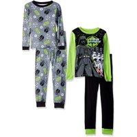 Star Wars Boys' Galactic 4-Piece Cotton Pajama Set, Glactic Black, Size: 8